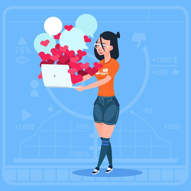 Girl blogger hold laptop with many likes Premium Vector