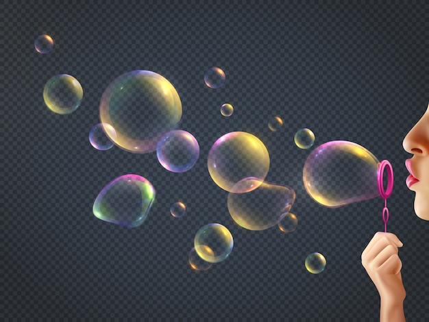 Girl blowing soap bubbles with rainbow reflection on transparent  realistic Free Vector