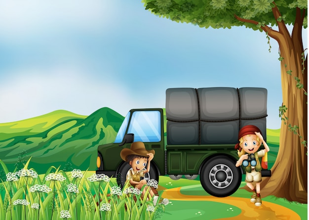 A girl and a boy beside the green truck Free Vector