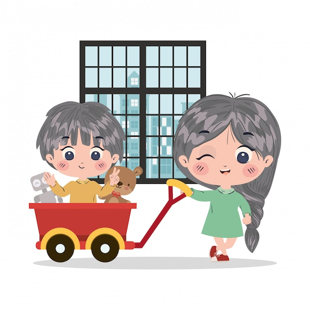 Girl and boy cartoon illustration Premium Vector
