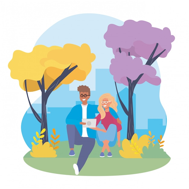 Girl and boy couple with trees and casual clothes Free Vector
