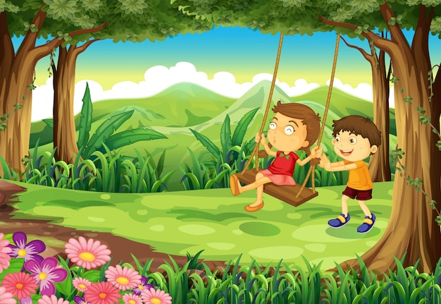 A girl and a boy playing at the jungle Premium Vector