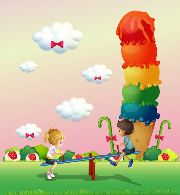 A girl and a boy playing at the park with a giant icecream Free Vector