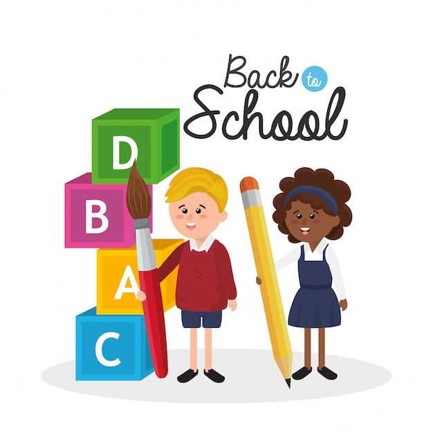Girl and boy students with pencil and paintbrush supplies Premium Vector