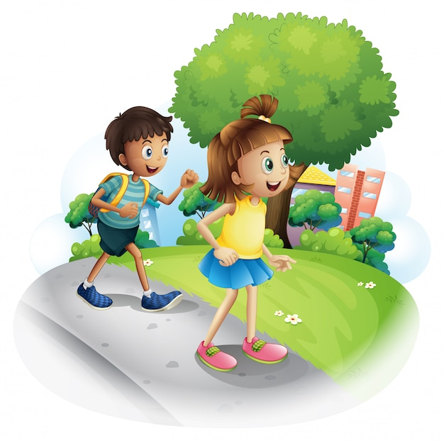A girl and a boy walking along the street Free Vector