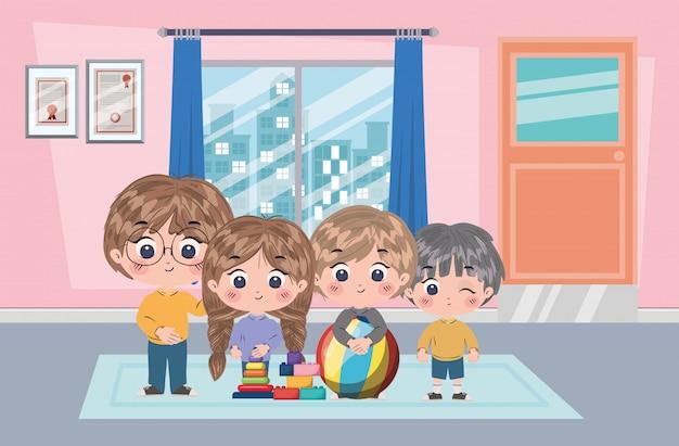Girl and boys cartoons illustration Premium Vector
