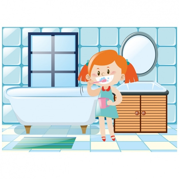 girl brushing her teeth in the bathroom free vector - In The Bathroom