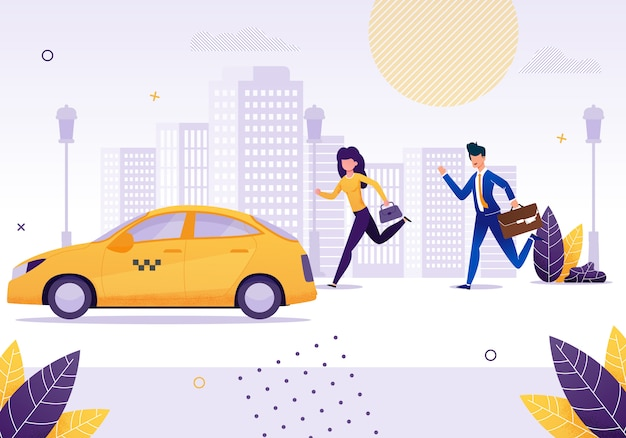 Girl and businessman running to get yellow taxi. Premium Vector