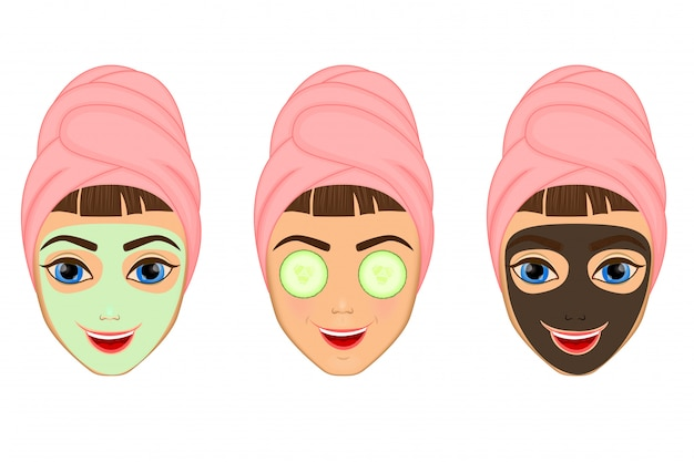 Girl cares and protects her face Premium Vector