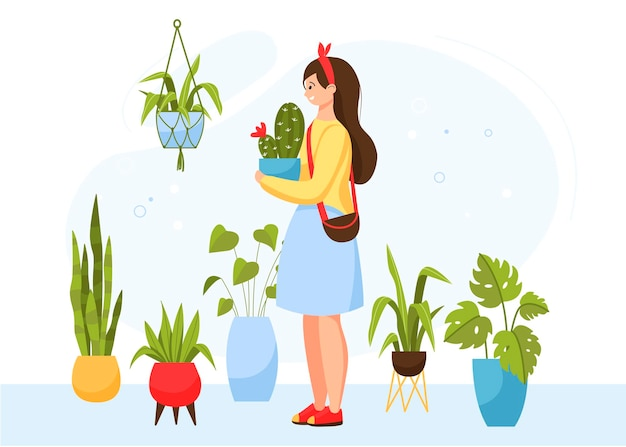 Девушка ухаживает за домашними цветами. покупка горшечных растений в магазине. Premium векторы