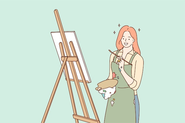 Girl cartoon character works with paintbrush draws paintings Premium Vector