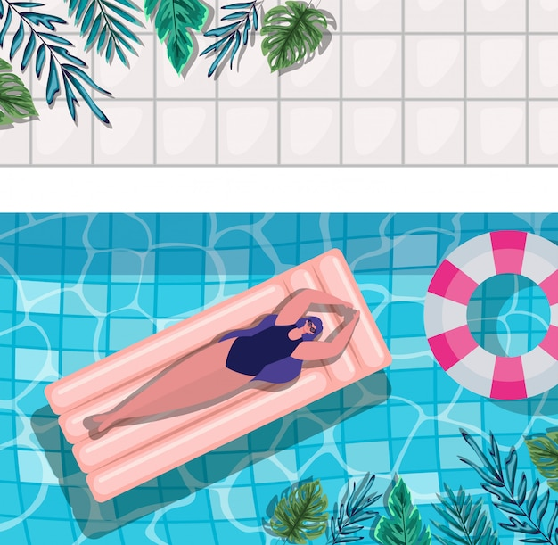 Girl cartoon on float at pool with leaves top view design, summer vacation Premium Vector