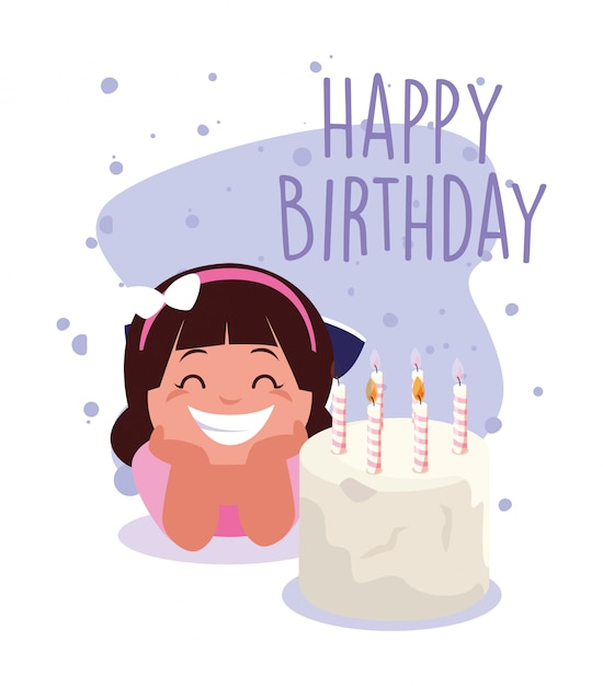 Premium Vector Girl Cartoon With Happy Birthday Cake