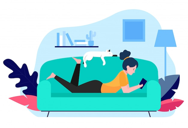 Girl and cat relaxing on sofa Free Vector