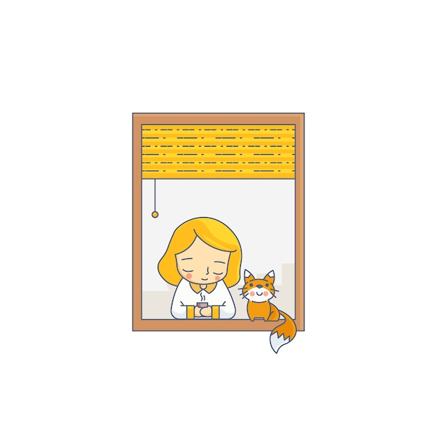 Girl and cat with window character vector illustration Premium Vector