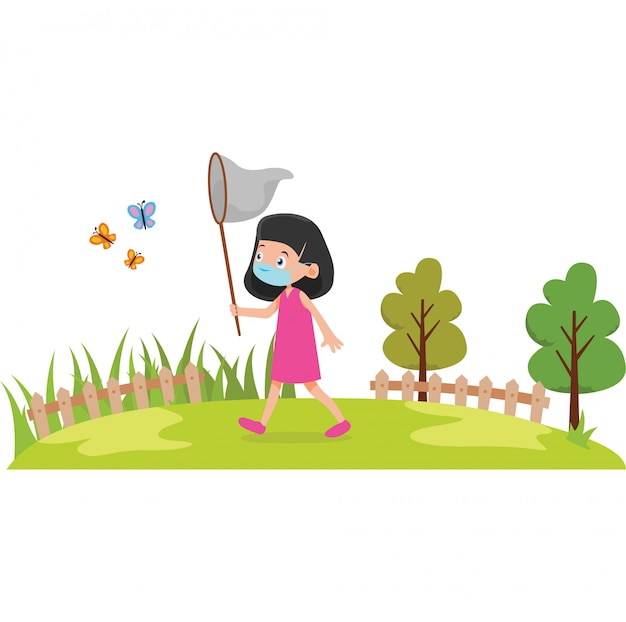 A girl catching a butterfly on the field while using medical mask Premium Vector