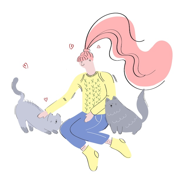 Girl and cats Premium Vector