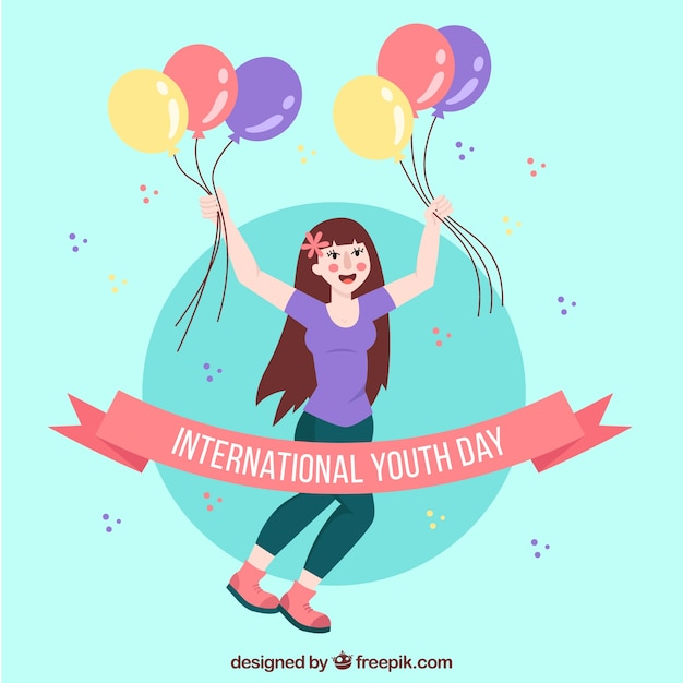 Girl celebrating background of youth day with balloons