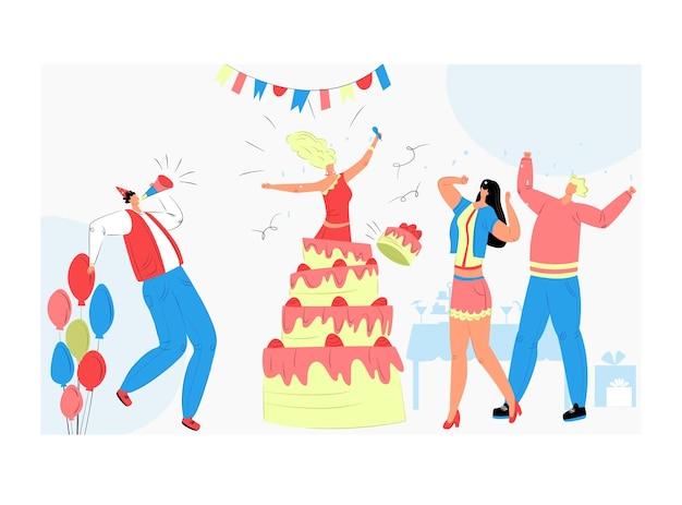 케이크 밖으로 점프하는 소녀 캐릭터, 사람들은 쾌활한 시간을 함께 보냅니다. 프리미엄 벡터