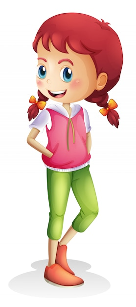 A girl character on white background Free Vector