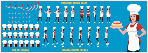 Girl chef character model sheet with walk cycle animations and lip syncing Premium Vector