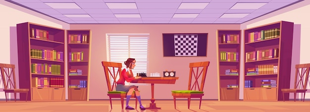 Girl in chess club playing board game Free Vector