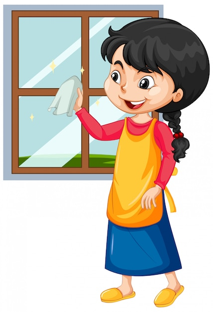 Girl cleaning window on white Free Vector