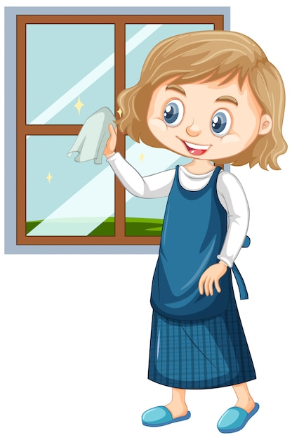 Girl cleaning window Free Vector