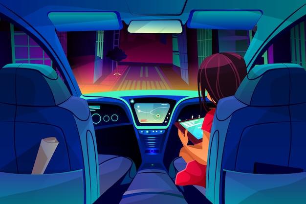 Girl control or manage smart autonomous car illustration. woman on passenger seat Free Vector