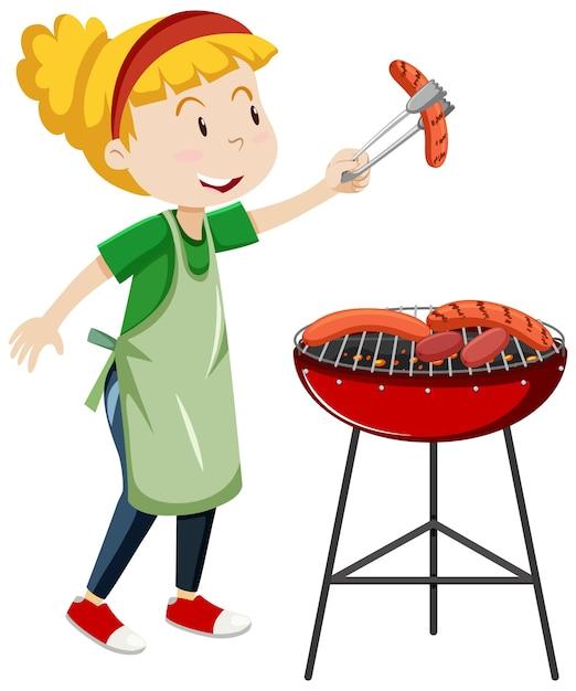 Девушка готовит гриль колбасы мультяшном стиле, изолированные на белом фоне Бесплатные векторы