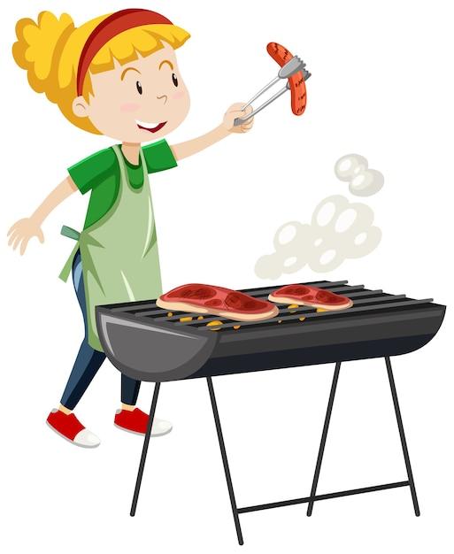 Девушка готовит стейк на гриле мультяшном стиле, изолированные на белом фоне Бесплатные векторы