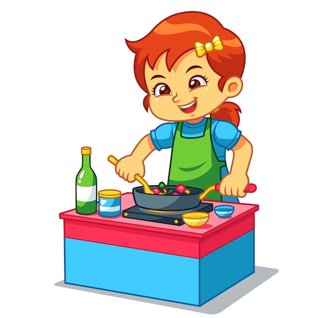 Girl cooking to make delicious food Premium Vector