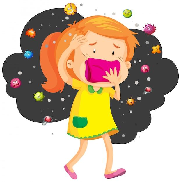 Девочка прикрывает рот от бактерий Бесплатные векторы