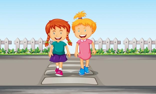 Girl crossing the crosswalk Free Vector
