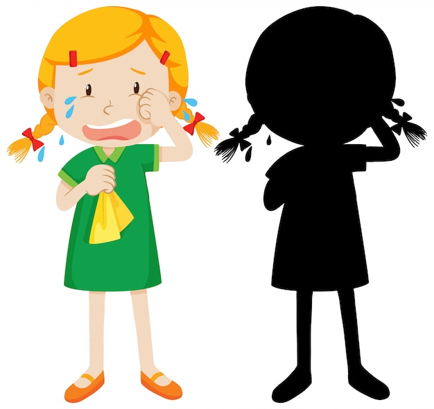 Girl crying anf its silhouette Free Vector