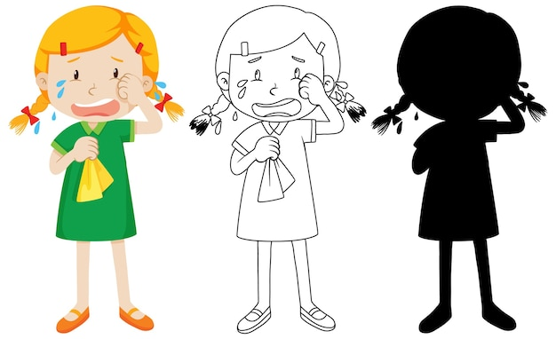 Girl crying with its outline and silhouette Free Vector