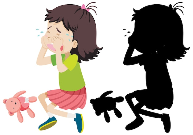 Girl crying with its silhouette Free Vector