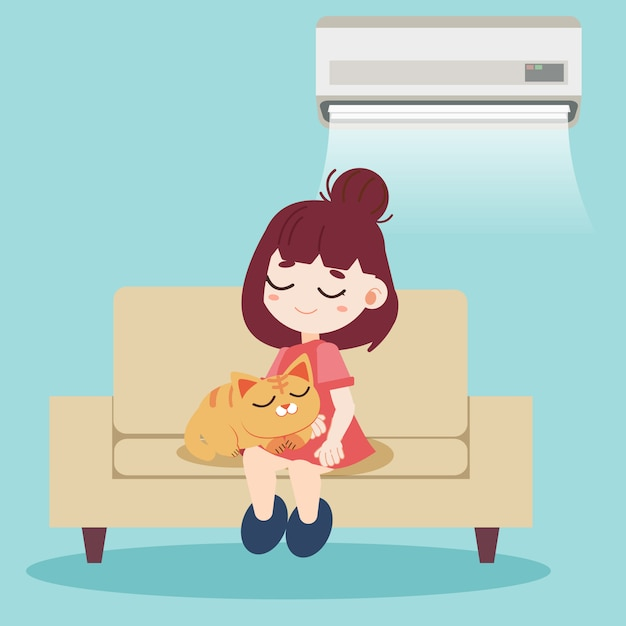 A girl and cute cat sitting together on the sofa Premium Vector