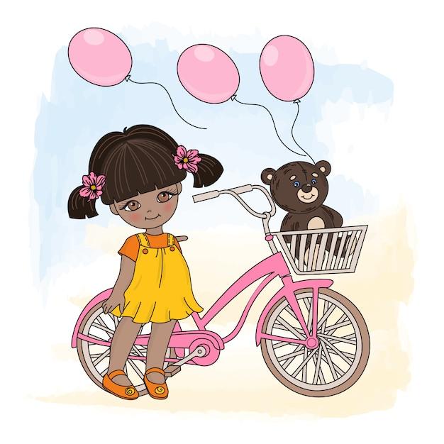 Girl cycle cartoon vector illustration set Premium Vector