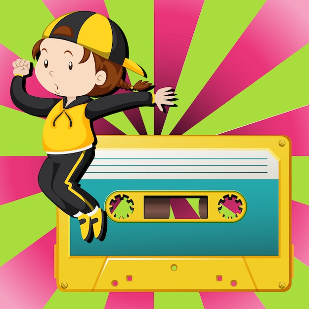 Girl dancing and casette tape Free Vector