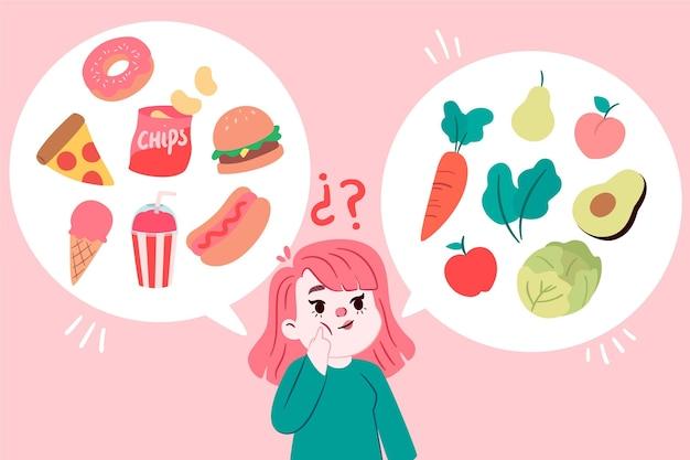 Девушка решает, что поесть Premium векторы