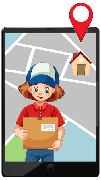 Значок пакета доставки девушка на этикетке Бесплатные векторы