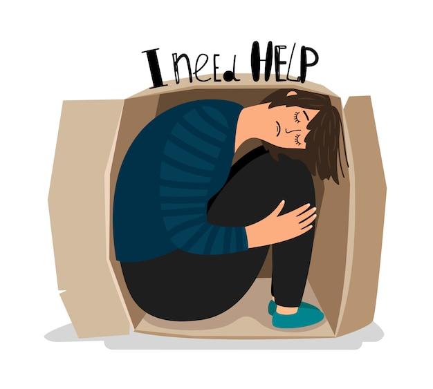 Girl depression illustration Premium Vector