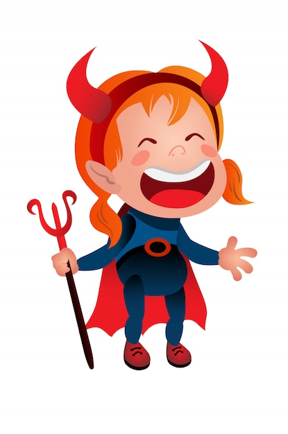Girl in devil costume laughing line icon. kid, demon, satan. halloween concept. Free Vector