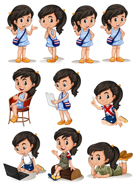 Girl in different actions illustration Free Vector