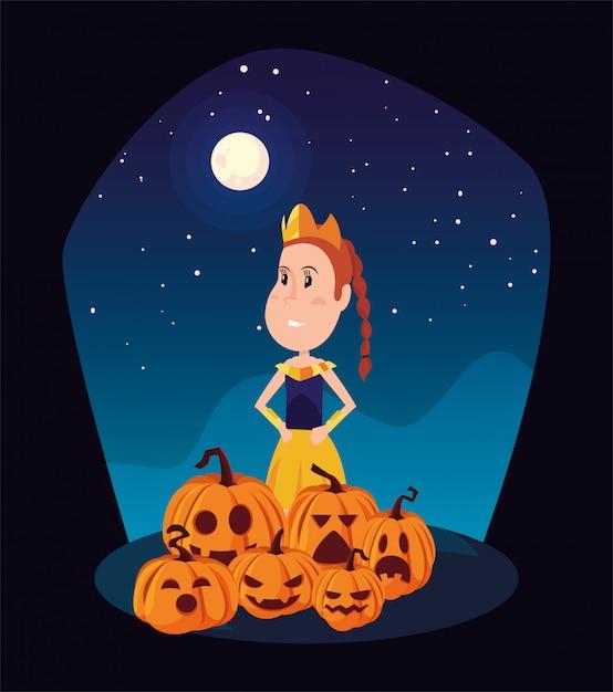 Girl disguise in scene of halloween Premium Vector