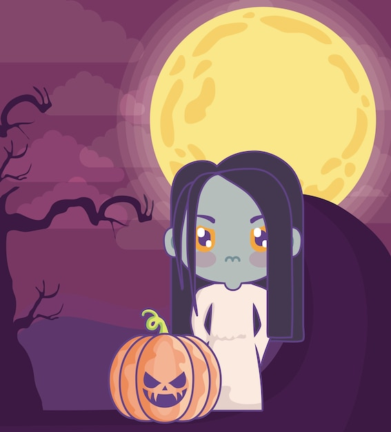 Girl disguised as a zombie on halloween scene Premium Vector