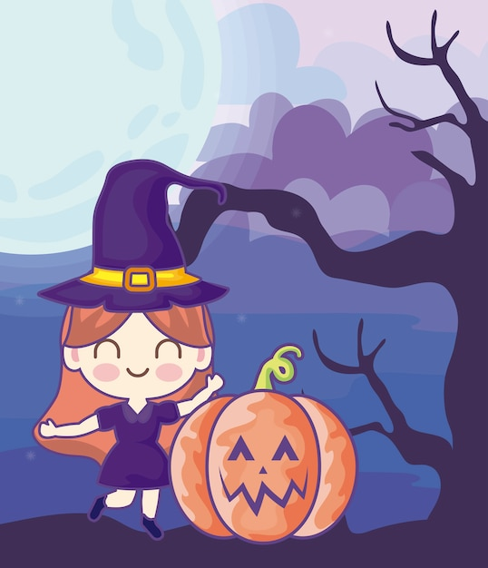 Girl disguised of witch on halloween scene Premium Vector