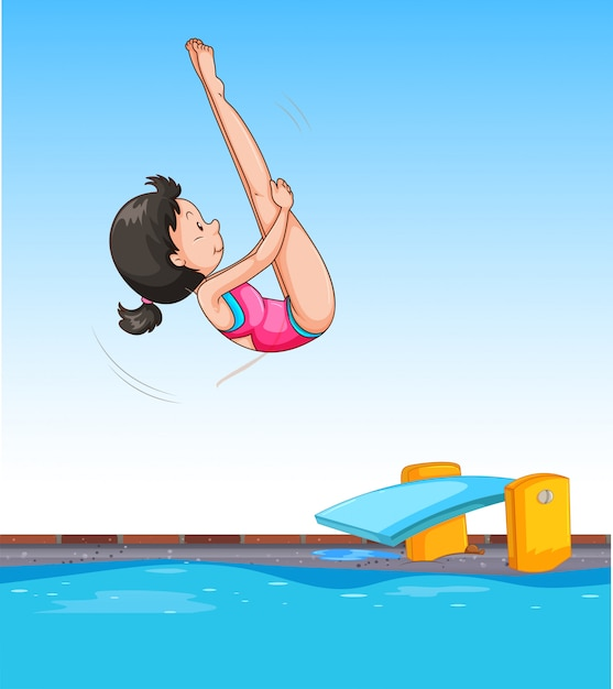 Girl diving into pool Free Vector