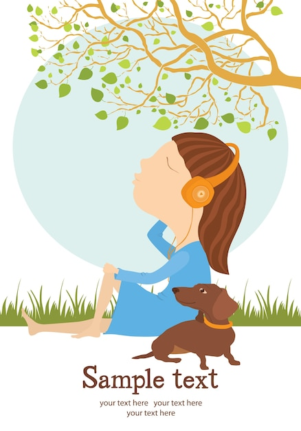 Girl and dog card Free Vector